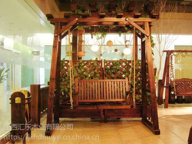 厂家直销实木秋千户外摇椅碳化防腐木阳台吊椅双人荡椅庭院花园休闲椅子带顶棚