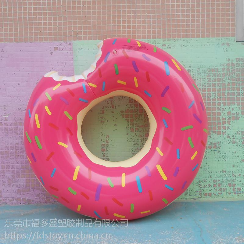 厂家福多盛直销环保PVC充气甜甜圈泳圈 多色色可订 夏日水上玩具
