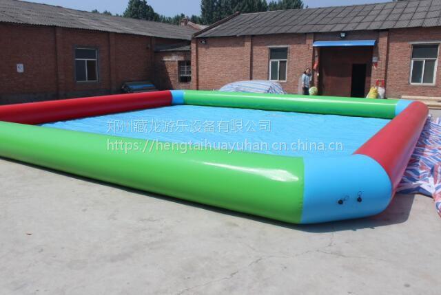 广场打气蓄水池去哪买 充气水池帆布充气泳池价格 郑州充气水池工厂直销定做