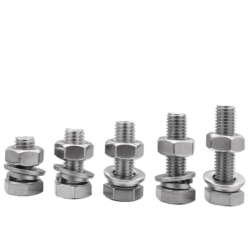 金裕 304不锈钢外六角螺丝DIN933/GB5783六角三组合螺栓M6 M8 M10