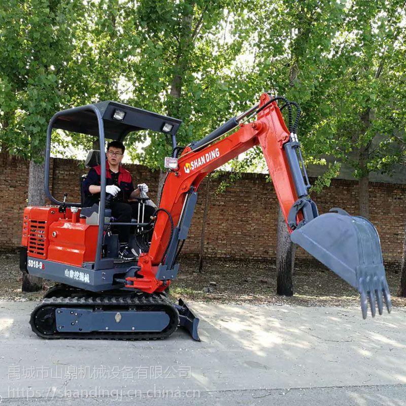 超实用的山鼎小型挖掘机 可以爬楼梯的微型挖掘机 蔬菜大棚用的小挖机