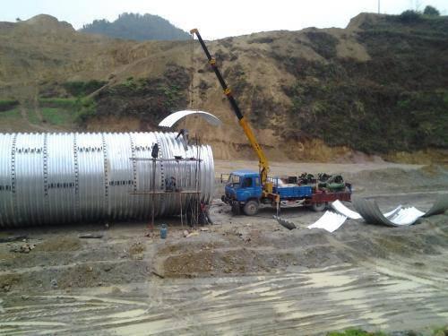 公路涵洞排水钢波纹涵管,波纹钢管厂家直销