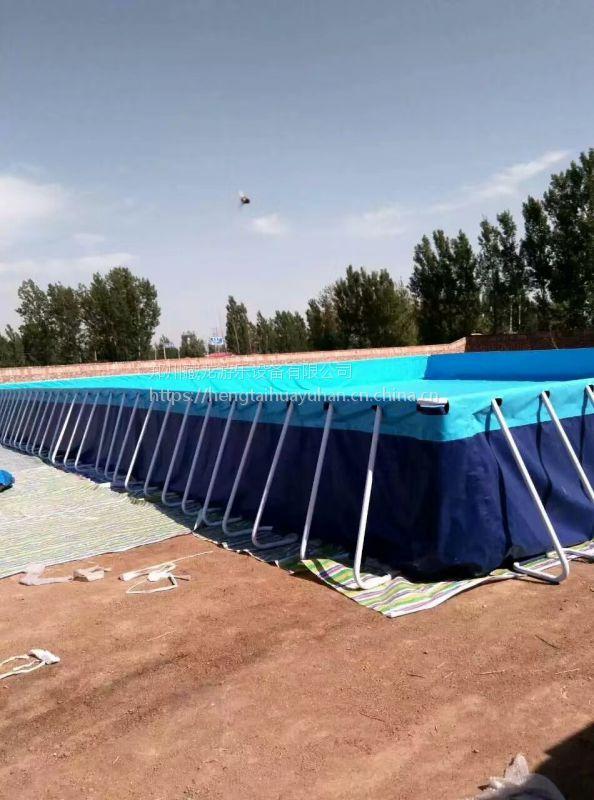 户外水上乐园泳池水滑梯 水上游乐水滑梯充气水池工厂 PVC布料加厚大型钢架泳池