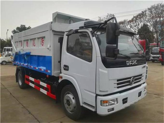 东风污泥自卸车、5吨自卸式污泥运输车厂家说明、5立方密封污泥自卸式垃圾车价格