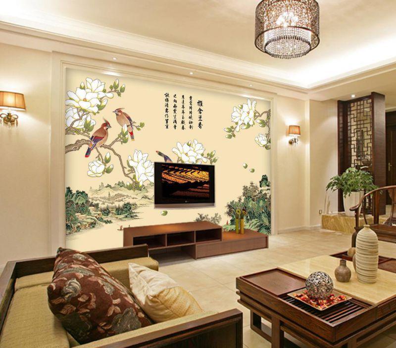 8D清香梅花电视背景墙画定制 品牌服装连锁店壁纸个性定制 来图加工