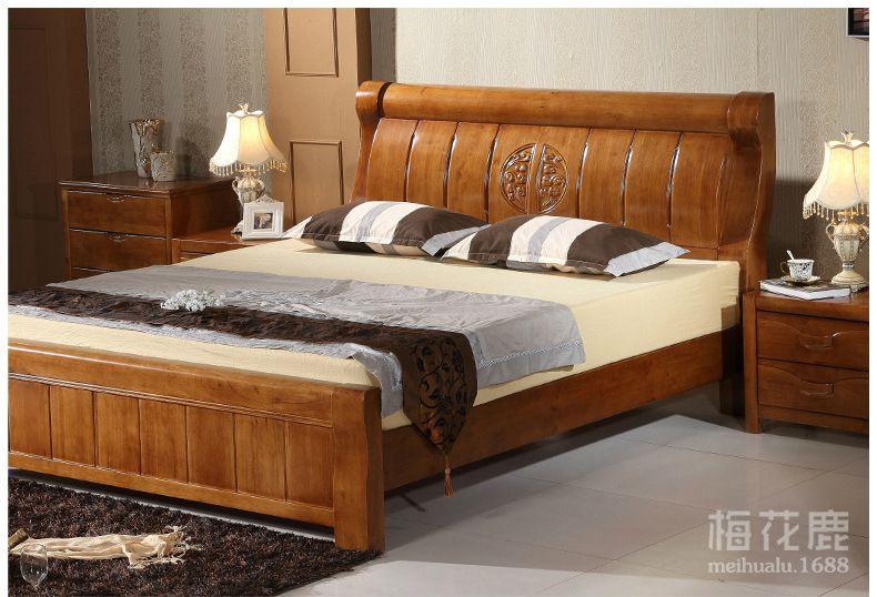 厂家直销胡桃色现代中式实木床1.8米橡胶木硬板床双人床卧室婚床图片
