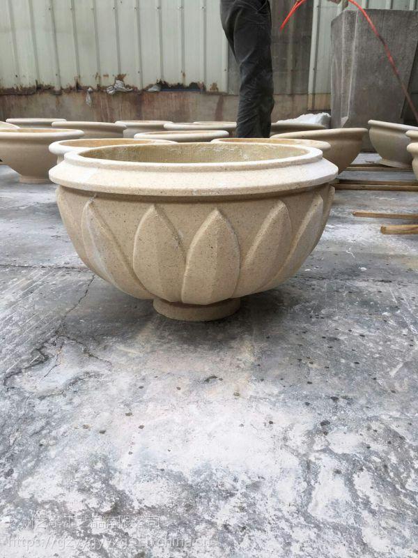 仿印度砂岩花钵 景观花叶形状装饰花盆 艺术砂岩花器
