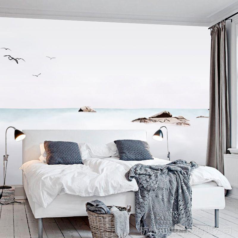 【新中式简约墙纸 客厅卧室沙发电视背景墙 水墨山水画壁纸环保壁画】图片