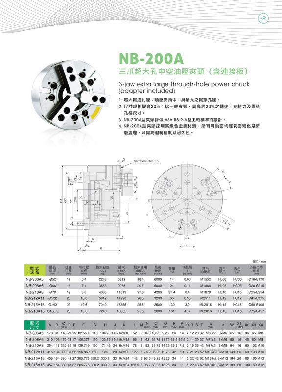 高精度台湾亿川三爪超大孔油压夹头液压卡盘NB-310A8