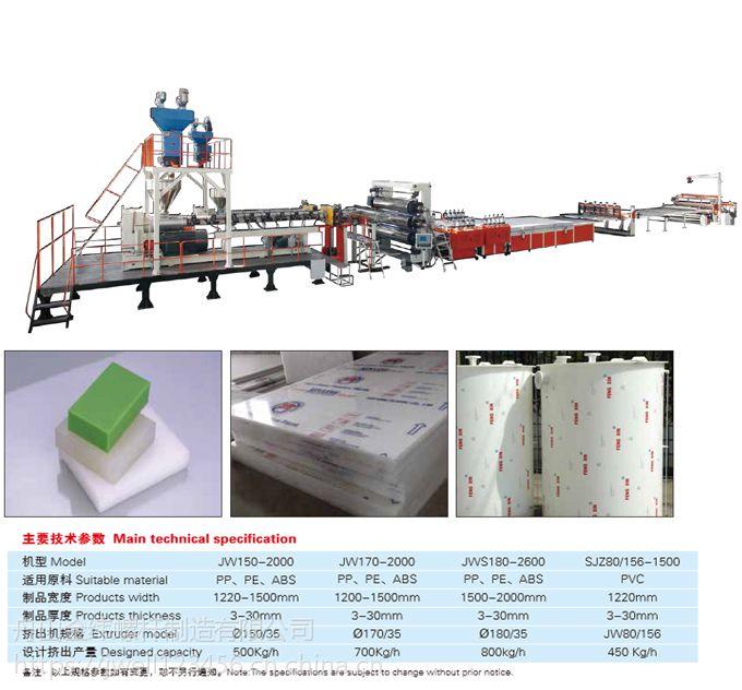 金纬PP、PE、ABS、PVC厚板生产线