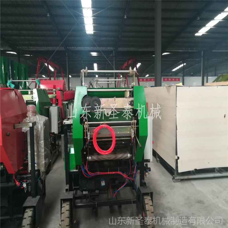 新款自动开仓玉米秸秆粉碎打捆包膜一体机 面包草青贮圆捆包膜机