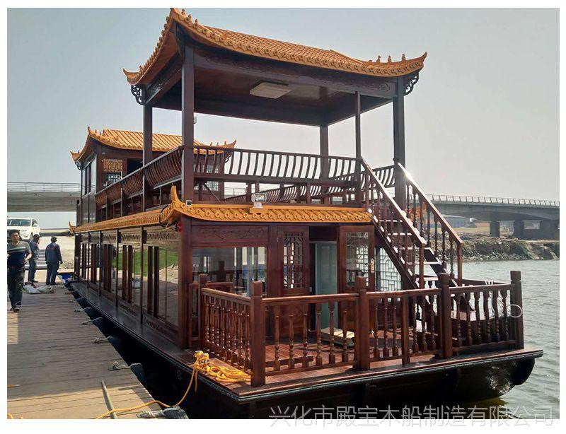 厂家热销电动双层画舫木船旅游观光餐饮旅游船款式多样