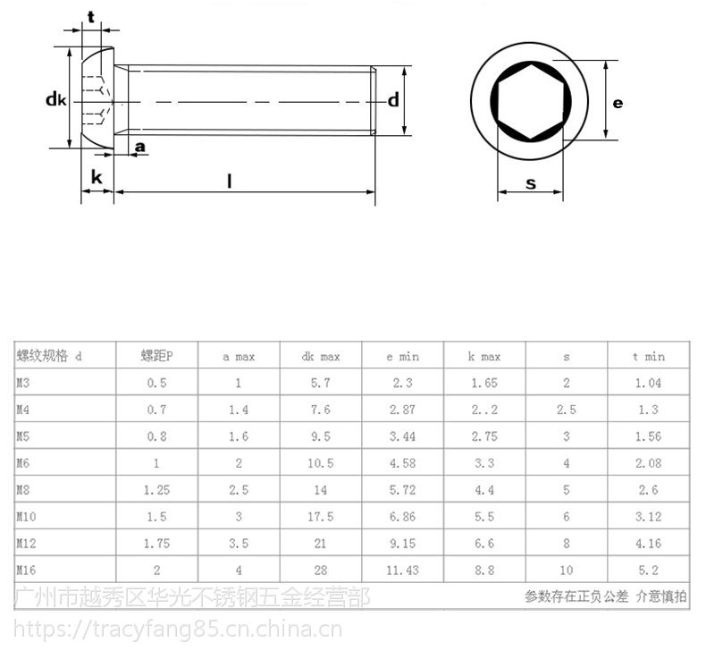 不锈钢螺栓规格_9级圆头内六角圆杯螺栓发黑/304不锈钢盘头内六角螺丝圆头内六角螺栓