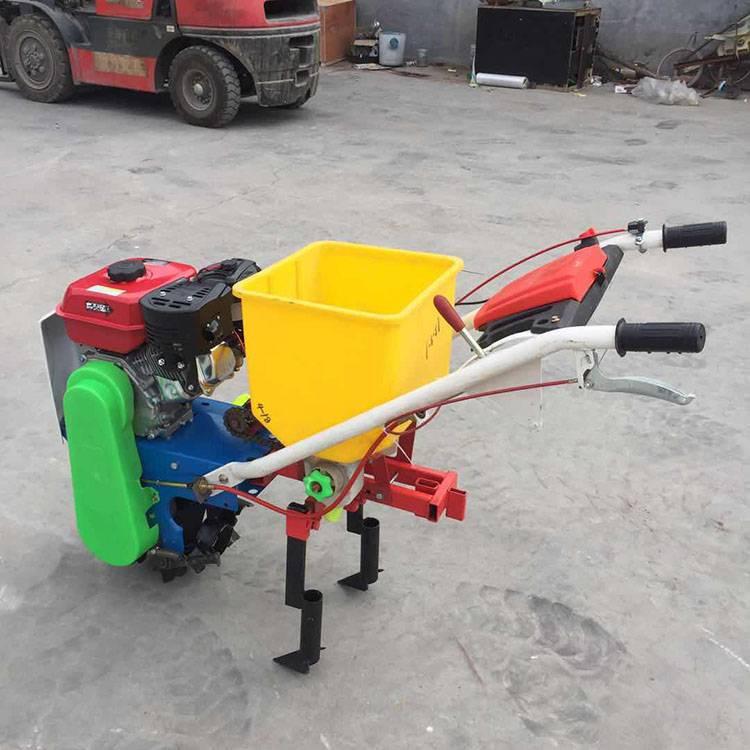 手推式汽油施肥播种机 单行玉米花生施肥播种机 乐民牌