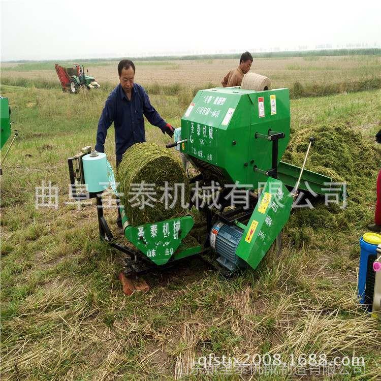 .牧草秸秆储存打包机 青贮草料打捆机 苜蓿稻草打捆包膜一体机