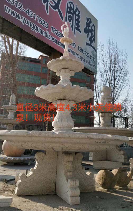 欧式石雕喷泉 人物雕塑喷泉设计制作实拍