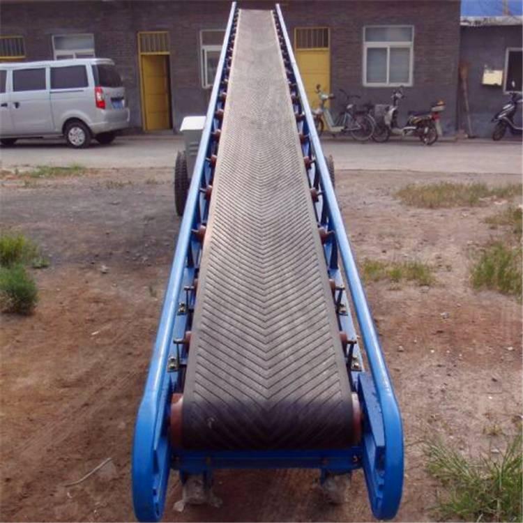 木材用带式输送机 兴运大倾角波状挡边皮带输送机