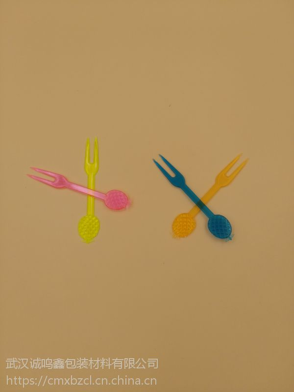 菠萝叉 水果叉 OK叉 彩色 PS塑料叉 蛋糕勺 蛋糕叉 一次性刀叉勺