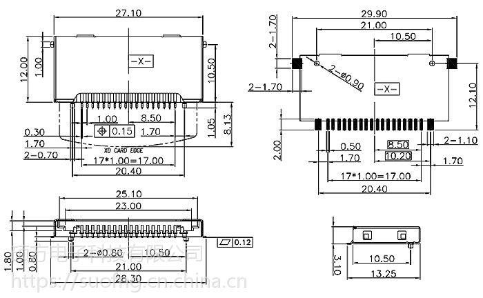 硕方 XD020 多合一连接器 USB条形XD卡座