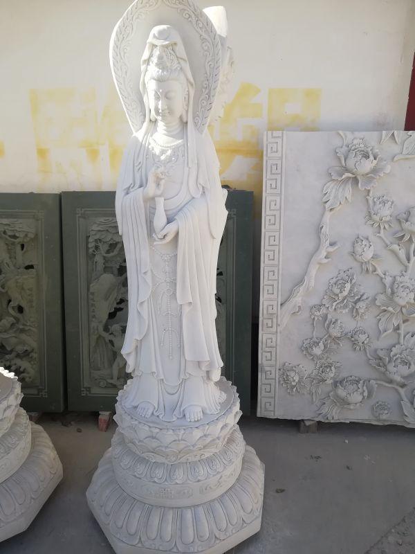 新款汉白玉观音菩萨三面观音菩萨佛像雕塑厂家销售定做