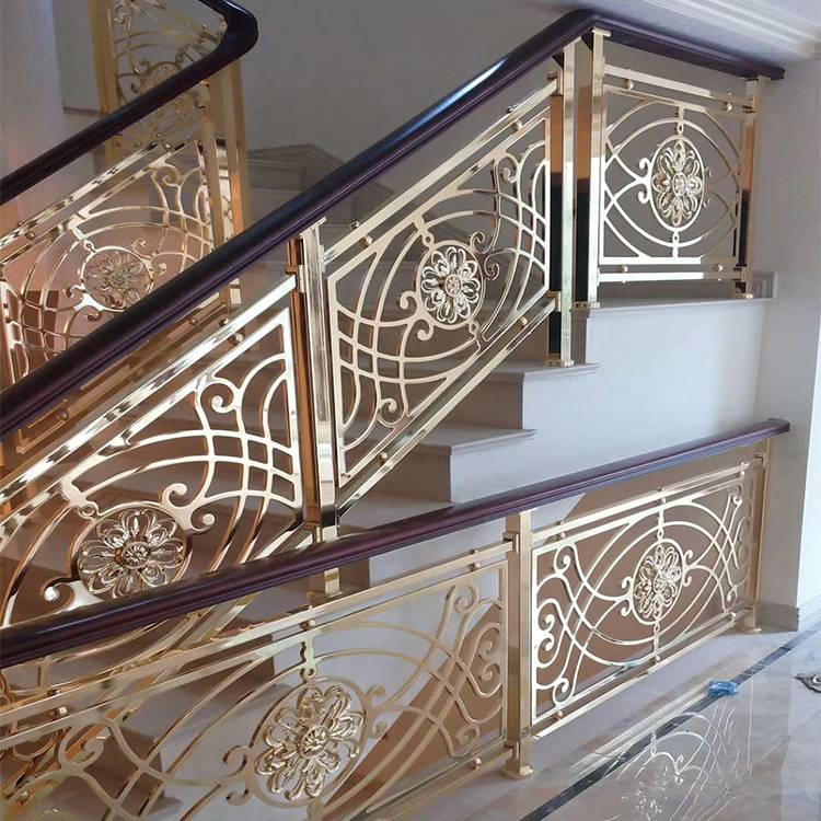 江苏铜艺支柱护栏 雕花铜板楼梯护栏 欧美式风格