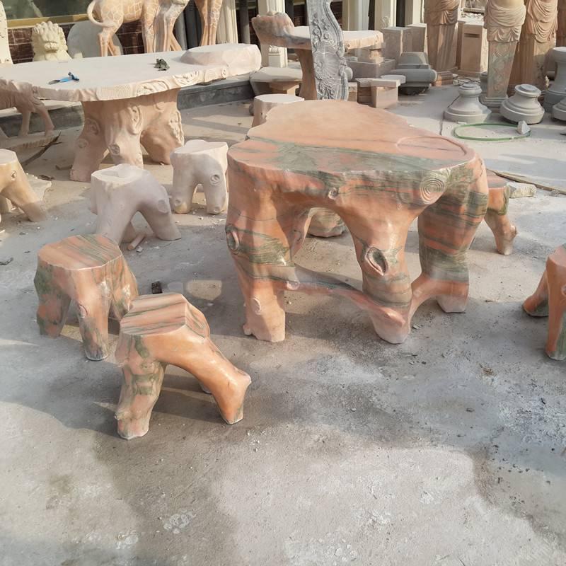 石雕石桌石凳晚霞红庭院休闲茶几棋盘圆形桌子一套曲阳万洋雕刻厂家现货加定做