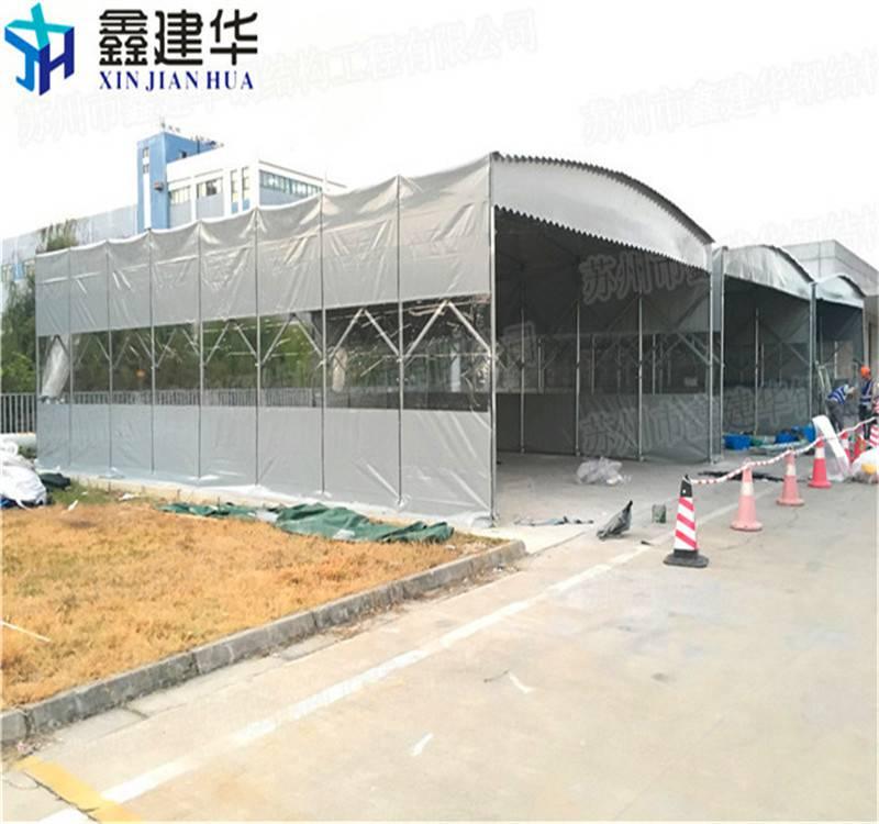 绍兴伸缩蓬大型伸缩雨棚安装 上虞市推拉雨蓬 布厂家