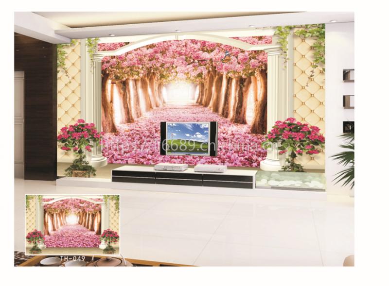 中式大型壁画 家和富贵8D精雕沙发客厅背景墙壁画定制 东莞无缝壁画厂家