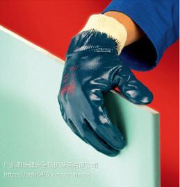 广州Ansell 27-602全棉针织布丁腈全掌涂层劳保手套 防滑 耐磨 防刺 防割 耐油