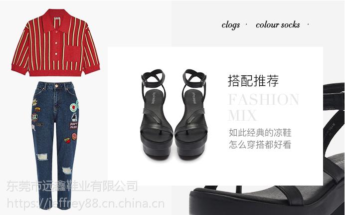 时尚流行女鞋 Jeffrey Campbell18年春夏新品黑色厚底粗跟露趾一字带罗马凉鞋
