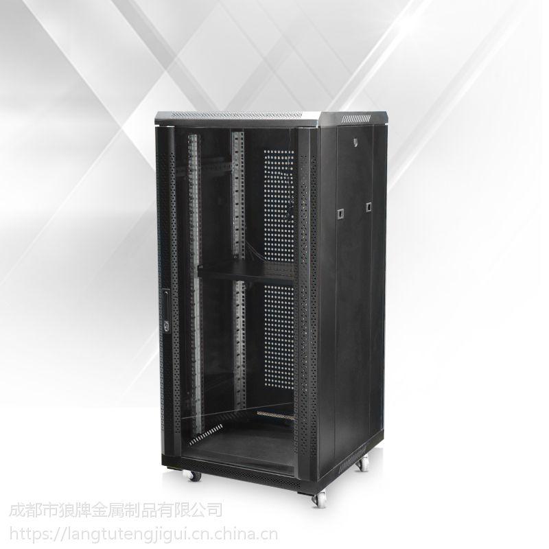 狼图腾机柜豪华H型 18U 600*600 1米 服务器机柜 玻璃门