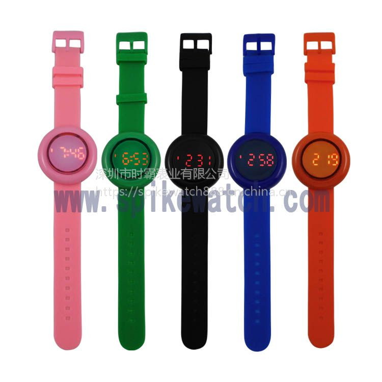 外贸跨境货源供应时尚个性圆形LED防水硅胶电子手表