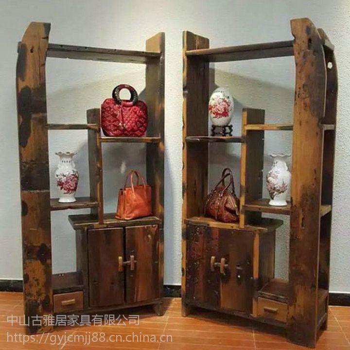 实木架子 博古架 展示架子 古董收藏架子 玄关架子老船木架子茶叶架子