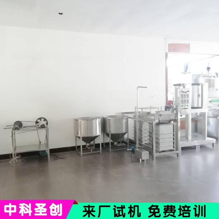 加工制作厚薄豆腐皮的机器设备 商用千张豆腐皮机器现场演示操作教技术