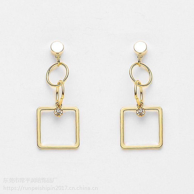 润培 时尚简约铜电镀金色正方形耳环女士耳饰 饰品厂家