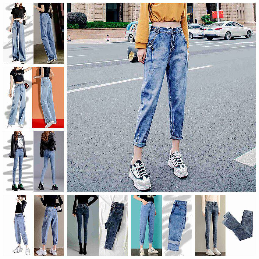 便宜女士牛仔裤韩版时尚库存牛仔裤批发紧身小脚铅笔裤