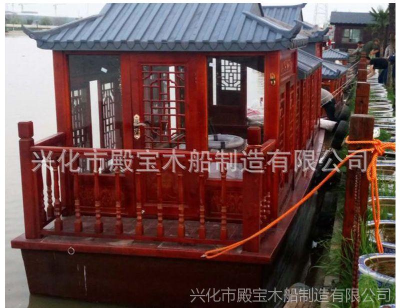 湖北武汉景区观光旅游船 电动仿古餐饮画舫船公园小木船手工定做