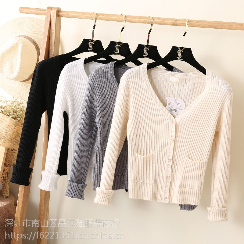外贸库存尾货 春季新款韩版女装针织衫毛衣外套 女式开衫地摊批发