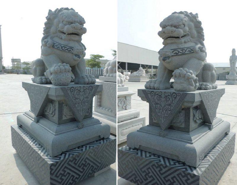 石雕狮子 门口狮子的摆放 石狮子的价格图片
