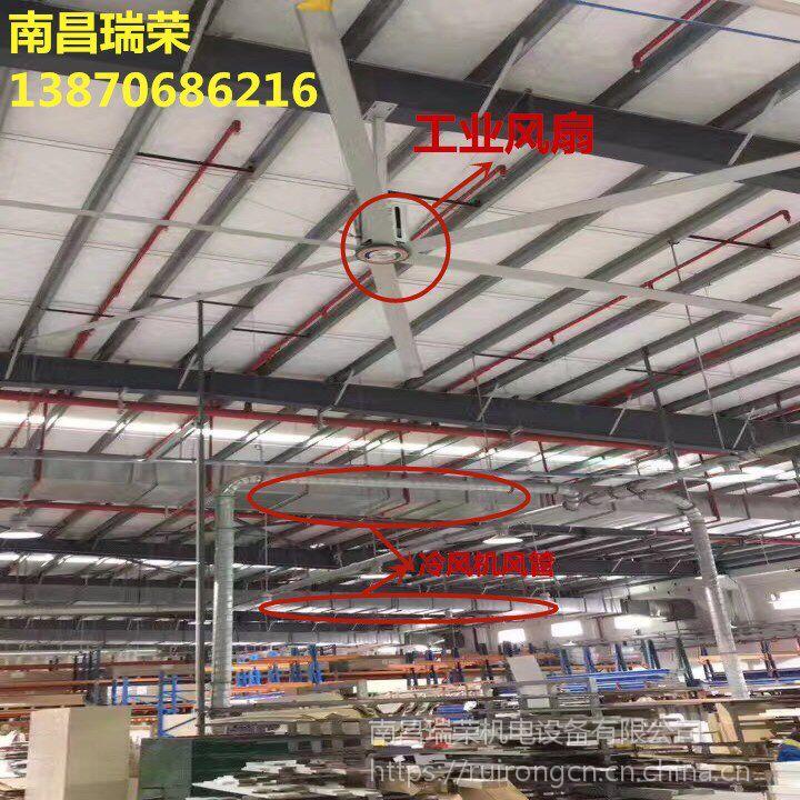 电商仓储物流中心通风降温解决方案瑞泰风扇机组合(工业风扇+冷风机)