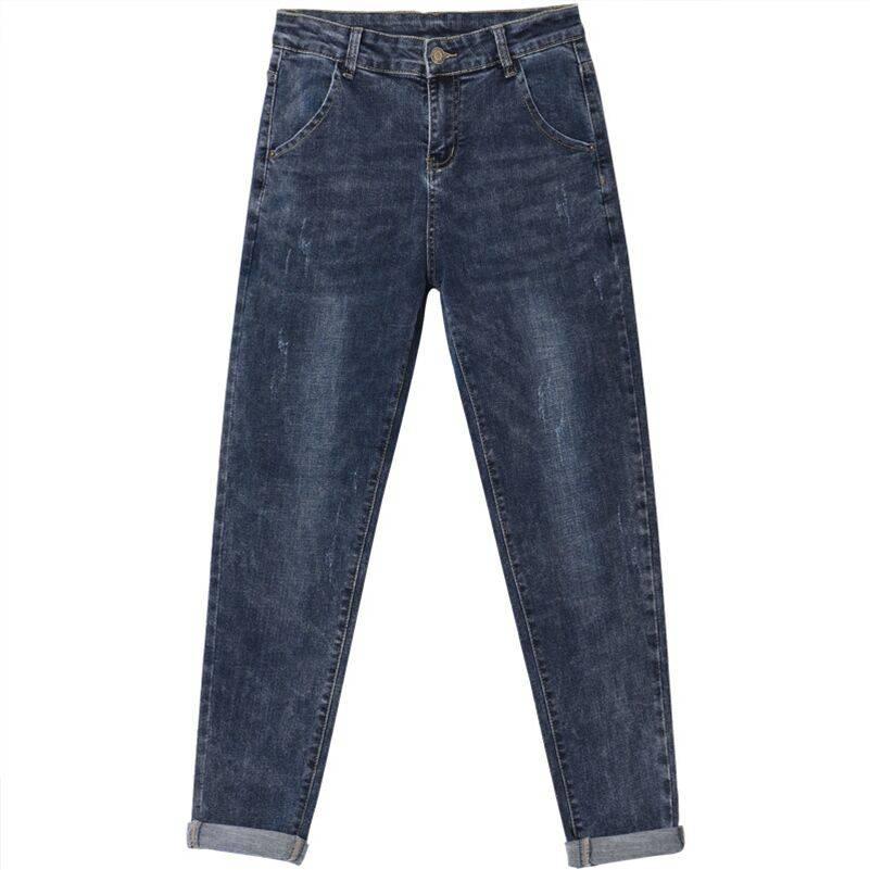 吉林长春哪里有便宜牛仔裤批发韩版大码百搭磨毛修身九分牛仔裤地摊货源一线批发