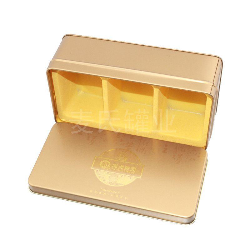 高档茶金属礼盒 金色长方形铁盒包装 马口铁茶叶盒 广东制罐厂家图片
