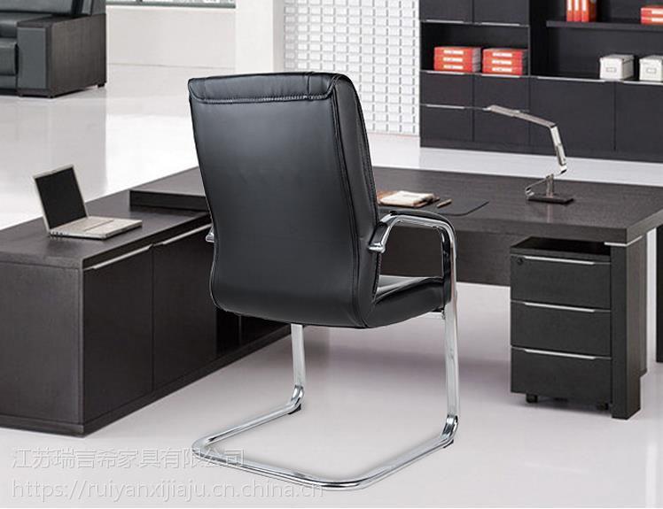 厂家直销现代简约弓形办公椅 外贸电镀PVC真皮椅