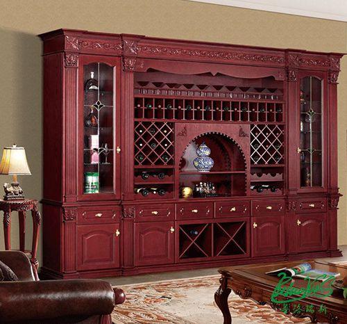 普洛瑞斯东莞实木整装定制中式酒柜图片