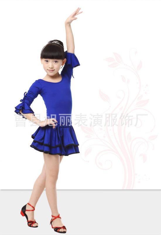 童拉丁舞裙女冬_春秋拉丁舞服装新款长袖女童练功服少儿拉丁舞裙比赛舞蹈服表演服