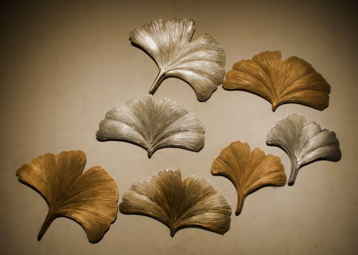 时尚工艺品挂件 手工实木雕刻艺术品银杏叶 别墅沙发 卧室壁式图片
