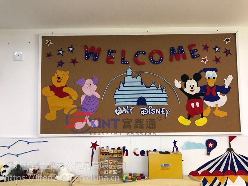佛山幼儿园宣传栏固定箱p高州木框软木板p照片墙活动宣传栏