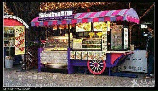 广场钢结构奶茶售货车,景区木质售票亭,游乐园实木手推车