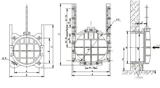铸铁镶铜圆闸门安装图