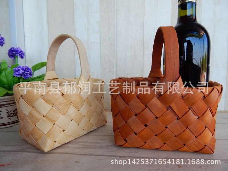 厂家收纳*原木木片编织出口篮*木垫片*手提篮不锈钢冲压件篮子图片